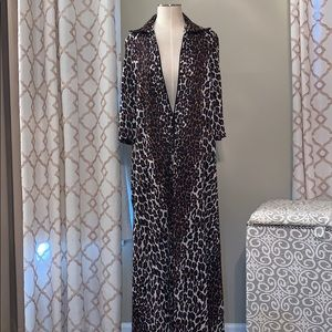 Cheetah Print Duster Jacket Pull Over